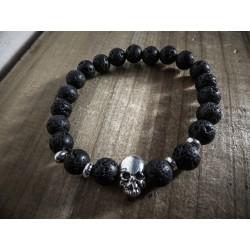 Bracelet perles pierre de lave noires Skulls MC Ink
