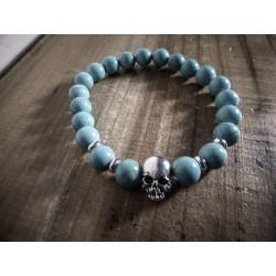 Bracelet perles pierre de lave turquoise Skulls MC Ink