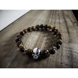 Bracelet perles pierre oeil de tigre marron Skulls MC Ink