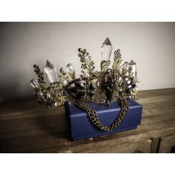Couronne bronze doré cristaux Skullbird