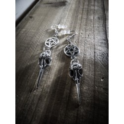 Boucles d'oreilles argentées 666 Skullbird 666
