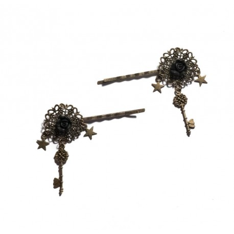 Lot de 2 Barrettes fines bronze Pin Up Rétro Vintage Rockabilly Black Rose