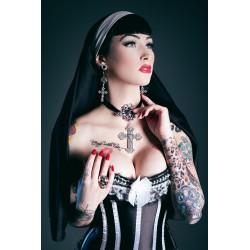 """Créoles argentées goth pentagram """"666 Crucifix 666"""""""