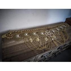 """Ceinture dorée belly dance croix pentagram """"666"""""""