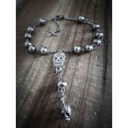 Bracelet rosaire argenté mixte acier Calavera Dia de los Muertos
