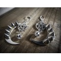 Boucles d'oreilles argentées 666 Spiky Skull Moon 666