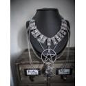 Collier plastron argenté pentagram spikes ♰ 666 Moon Ankh 666 ♰