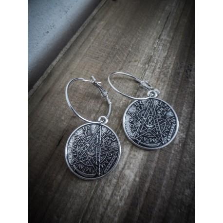 Boucles d'oreilles créoles argentées Pentagram Esoteric