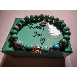 Bracelet perles pierre de lave turquoise Bouddha Tierracast MC Ink
