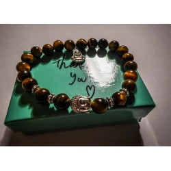 Bracelet perles pierre oeil de tigre marron Bouddha Tierracast MC Ink