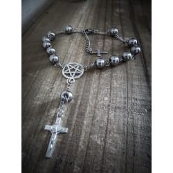 Bracelet rosaire argenté mixte acier 666 Crucifix 666