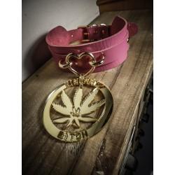 Collier cuir rose vegan doré 420 Pentagram 420