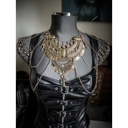 Collier doré armure belly dance goth egyptian ankh Tiana