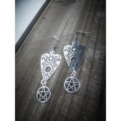 Boucles d'oreilles argentées 666 Ouija Board 666