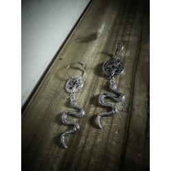 Créoles argentées 666 Snake 666