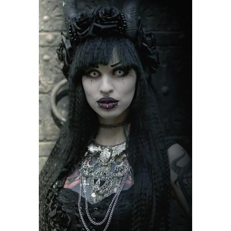 Collier maxi plastron argenté moon 666 Satanaii 666
