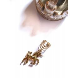 Bague d'oreille métal doré avec un pendentif Licorne