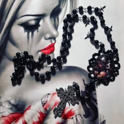"""Chapelet rosaire argenté cabochon femme gypsy bohème """"Witch"""" personnalisable"""